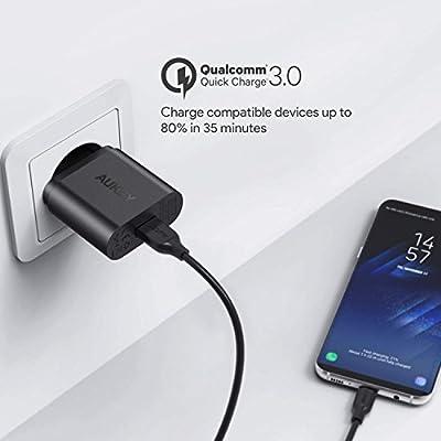 AUKEY Quick Charge 3.0 Chargeur Secteur USB 19,5W Chargeur Mural pour Samsung Galaxy S8/S8+/Note 8, LG G5/G6, Nexus 5X/6P, HTC 10, iPhone XS / iPhone XS Max / iPhone XR, iPad Pro/Air, Moto G4 etc. par AUKEY - Housses , Chargeurs , Kindle & Fire, Etuis , T