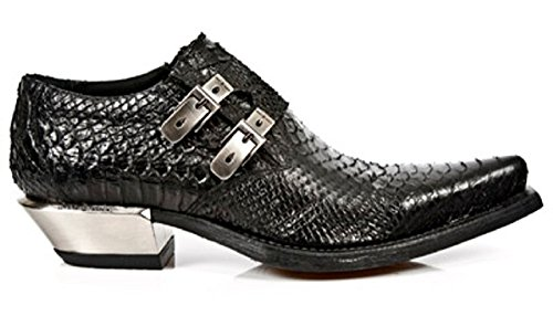 NEWROCK New Rock 7934 - S2 Nero Python West Loop acciaio pelle stivali 46
