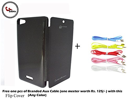 2dots Flip Back Cover Case for Micromax Canvas Selfie Lens-3 Q-348 With Free Branded Aux Cable One Meter Worth Rs.125 Any of One Color  available at amazon for Rs.125