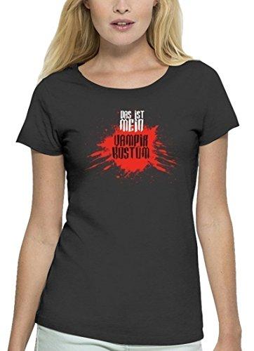 Fasching Karneval Premium Damen T-Shirt Bio Baumwolle Das ist mein Vampir Kostüm 2 Anthrazite