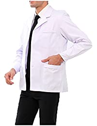 WDF bata de laboratorio médicos bata uniforme de trabajo enfermera blanco hombres manga larga corto párrafo botones esposas