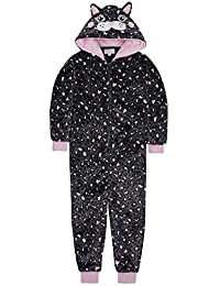 ONEZEE Girls Cow Nightsuit Sleepwear Pyjama Hooded Fleece Novelty Fancy Dress 2-13 Years