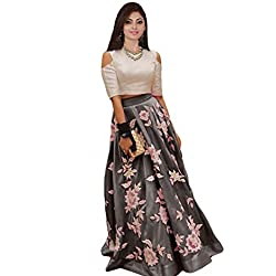 Ecolors Fab Women's Silk Lehenga Choli (2001_Navy_Blue01_Steel Grey_Free Size)