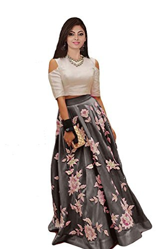Ecolors Fab Women's Silk Lehenga Choli (2001_Navy_Blue01_Steel Grey_Free Size)