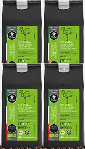 4x 500g GOffeo Bio Hochland-Kaffee Mexiko SHG EP - sortenrein - 100% Arabica | Hand gepflückt, traditionelle Trommelröstung | Alle Zubereitungsarten mit Kaffee-Mühle oder für Vollautomaten