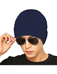 Mondpalast MPTECK   Blu Cappello Uomo Invernali Beanie Hat Casual Berretto  in Maglia Berretto Invernale Caldo 450a2a0743b7