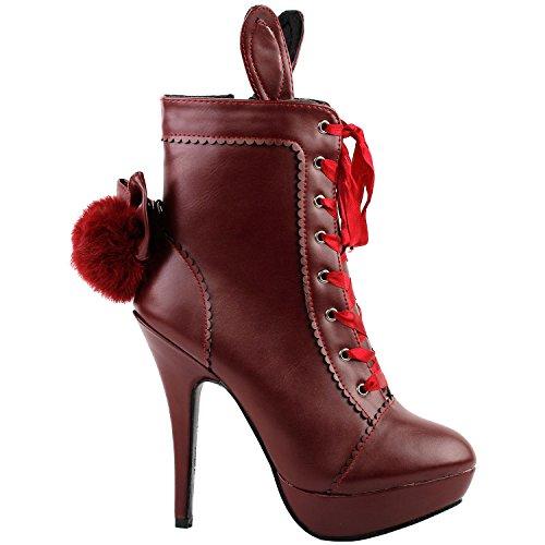 Show Story rote cosplay lolita halloween - ohr schwanz lace up plattform hochhackigen stiletto knöchel bootie pumpe schuh, LF30311RD36, 36EU, rot (Bootie Plattform-knöchel)