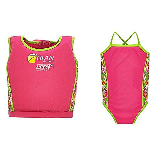 Highdas Kinderschwimm Float Suit Schwimmhilfe Neoprenanzug tragen 2-teilig Schnell trocknend Mädchen Swim Trainer, Rosa 5-6 Jahre