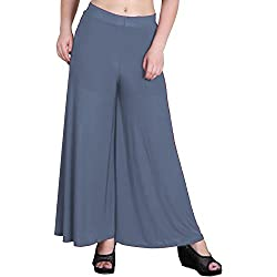 Tara Lifestyle stretchable Designer Plain Casual Wear Palazzo Pant For Women's - Free Size (Light Grey)