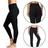 Damen Leggings Lange Budalga Frauen Hoher Bund Yoga Hose mit Tasche Fitness Yoga Sporthose Elastisch Workout Legging Schwarz M