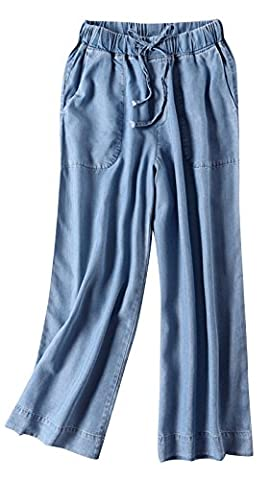 Women's Loose Fit Straight Jeans Elastic Waist With Drawstring Denim