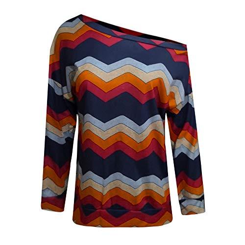 TWIFER Damen Mode Kalte Schulter Bluse Geometrischer Blumendruck Off Shoulder Jumper -