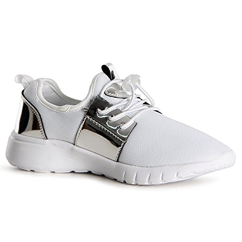Topschuhe24, Sneaker Donna Bianco Argento
