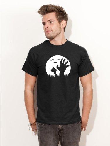 Friedhof Zombie Kostüm (Herren T-Shirt Halloween Friedhof´s Zombie Shirt schwarz H18 - Größe)