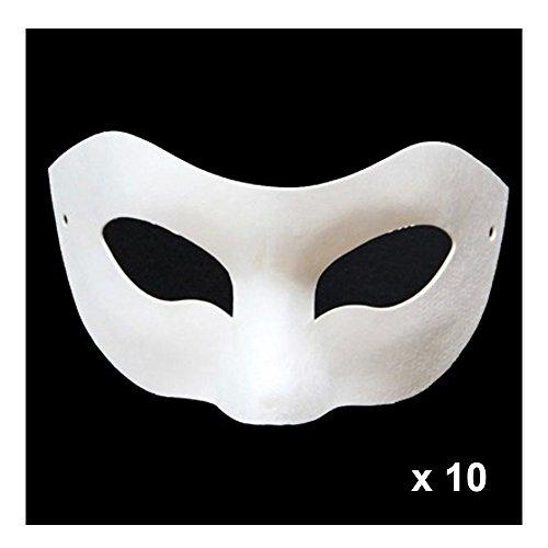 Weiß Eye Pappmaché Papier Masken für Kinder zu malen, Halloween Party Maske weiß, Halloween Maske, Maske Cosplay,Geburtstag, Karneval, Festival,Dekorieren und für Fancy Kleid + gefärbte Gänsefedern für die Dekoration (Pappmaché Halloween-masken)