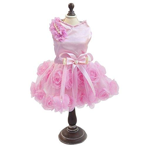 PETCUTE Luxus Welpen Hund Rock Dame Dog Rose Kleid Kleine Haustier Lovely Prinzessin Bogen Bekleidung für Frühling Sommer Rosa