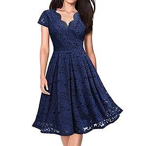 KOJOOIN Damen Spitzenkleid 1950er Cocktailkleid Vintage Brautjungfernkleider für Hochzeit Kurzes A-Linie Abendkleider (Gr.34-48)
