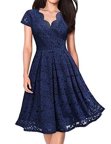 KOJOOIN Damen Spitzenkleid 1950er Cocktailkleid Vintage Brautjungfernkleider für Hochzeit Kurzes A-Linie Abendkleider Dunkelblau (Kurze Ärmel) L/46