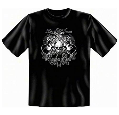 Skull Gitarre Totenkopf T-shirt Rock n Roll Fb schwarz