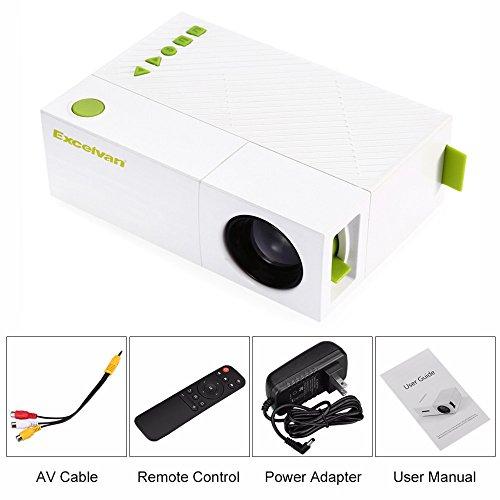 Pqusno Portable LCD Projector,800Lumen AV USB HDMI Video LED Mini Media Player Smart Video Game TV Home Theater Movie