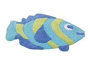 """Jolie wannenvorleger tapis de bain """"bLUE fISH"""" en forme de poisson bleu/vert-merveilleusement douce - 100 %  coton-dimensions :  80 x 50 cm-également disponible en oRANGE/pINK boutique kAMACA"""