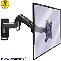 Invision Monitor Wall Mount Bracket for PC Monitor & TV - To Fit Screens 17 to 27 inch - Ergonomic Height-Adjustable Single Arm Tilt Swivel & Rotate - VESA 75x75mm & 100x100mm - Weight 2-7kg [MX250]