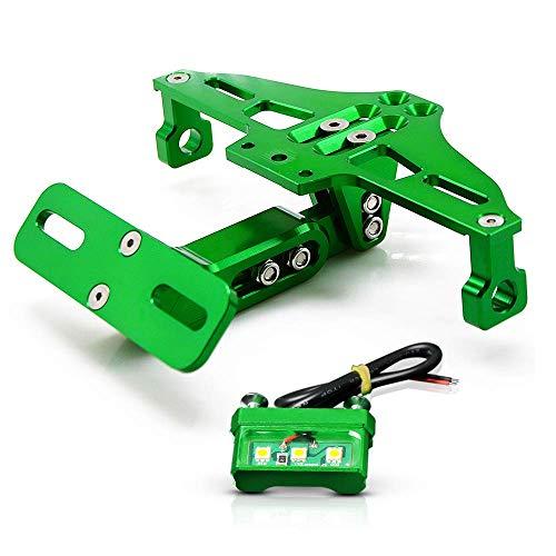Universal Motorrad Kennzeichenhalter Mit LED-Licht Für Kawasaki Z250 Z650 Z750R RR Z800 Z900 Z1000 250R 300R 400R 500R 650R 1000R ZX-10R 6R 12R ER6N ER6F-Grün