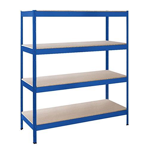 Schulte Schwerlast-Steckregal XXL-Regal Metall, 180x160x60 cm, Traglast 1000 kg, 4 Holz-Böden, verzinkt, Stecksystem ohne Schrauben