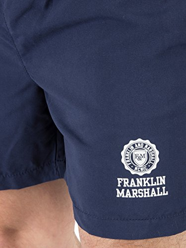 Franklin & Marshall Herren Stempel-Logo Badeshorts, Blau Blau