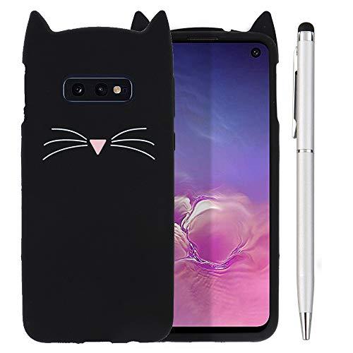Ash-case Samsung Galaxy S10e DUOS Hülle - Handyhülle für Samsung Galaxy S10e DUOS - Handy Case Cover Silikon Schutzhülle schwarz +1x Stylus Touch Pen Silber