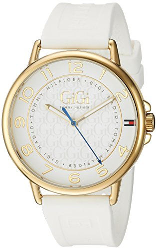 Tommy Hilfiger Women's 'Gigi Hadid' Quartz Gold-Tone and Rubber Casual Watch, Color: White (Model: 1781724)