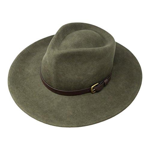 B&S Premium Lewis - Fedora Hut mit breiter Krempe - 100 % Wollfilz - wasserfest - Lederband - 58cm dunkelgrün