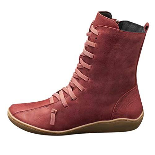 Posional Botas Planas Martin, Botas de Nieve de Invierno Mujer Botines de Cuero de Primavera Zapatos Planos Botas Cortas Damas Moda Estilo Vintage Cremallera Sólida Zapatos Planos Botines Botas Cortas