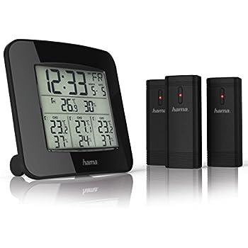 hama funk wetterstation inkl 3 au en sensoren thermometer hygrometer au ensensoren misst. Black Bedroom Furniture Sets. Home Design Ideas