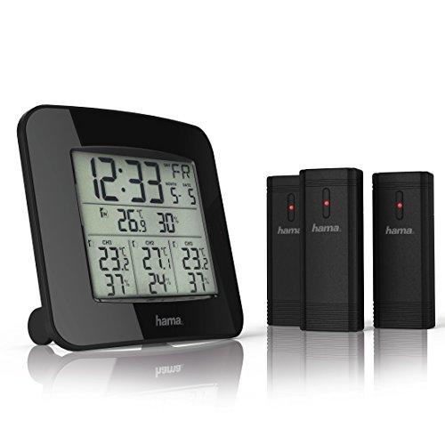 Hama Funk-Wetterstation (inkl. 3 Außen-Sensoren, Thermometer, Hygrometer, Außensensoren, misst Innen- und Außen-Temperatur und -Luftfeuchtigkeit, inkl. DCF Funk-Uhr mit Wecker) satellitengestützt, schwarz