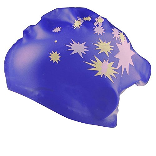 TININNA Stern Muster Wasserdicht Silikon Schwimmkappe Badekappe Badehaube Schwimmhaube Bademütze Swim Swimming Cap für Lange Haare Gesund tiefes Blau