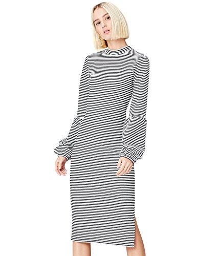 FIND Damen Gestreiftes Kleid mit Ballon-Ärmeln, schwarz/Weiß (Black/White), 40 (Herstellergröße:...