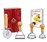 Kitchtic Profi Ravioli-Ausstecher 6Teilig Set, 3 wunderschöne Ausstechformen mit Holzgriff, Teig-Rad, E-Book, Geschenks Box   Nudelteigtaschen   Ravioli-Schneider   Teigtaschenformer