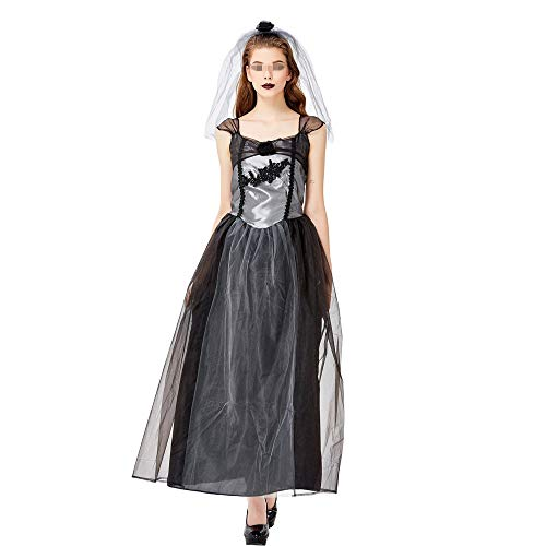 Chengzuoqing-CL Halloween Damenkostüme Halloween Geisterbraut Teufel Hölle Tod Braut Uniform Kostüm Hexe Kostüm Party Kostüm Party anziehen (Farbe : Schwarz, Größe : - 70's Soul Kostüm