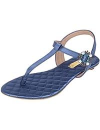 Catwalk Blue Buckle Flat Sandals for Women's