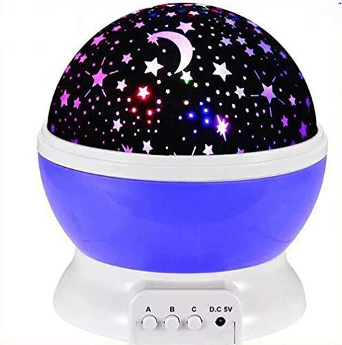 BHQF Lampe tournante de projecteur d'étoile, Lampe de Nuit de Chambre créative de Lampe de Nuit d'enfants LED lumières colorées de Nuit,Purple