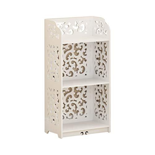 Stand-Bücherschrank Boden Schrank wc Rack europäischen mehrschichtige Finish Rack Bad ablage Bad Boden bücherregal Schränke (Color : Weiß, Size : 40 * 24 * 80cm) -