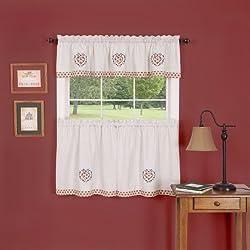 Achim Home Furnishings Heartland Window Curtain Kitchen Valance, Burgundy, 58 x 13-Inch