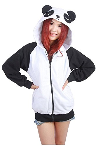 Très Chic Mailanda Damen Cartoon Sweatshirt Hoodies Zip Jacket Outwear Fleece Jacket Coat Kapuzenjacke mit Ohren (M, (Hoodie Ohren Mit Panda)