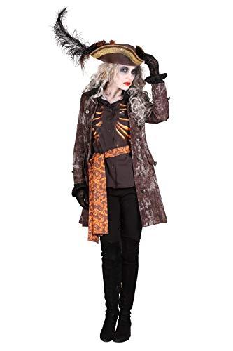 Karibik Piraten Bluse - Piratenkostüm Damen Braun Halloween-Kostüm Pirat 3-Teilig