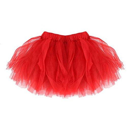 �me Kinder & Damen Minirock Tüllrock Unterrock Sommer Plissee Tutu Ballett Röcke Fancy Party Cosplay Rock (Rot-Kinder) (Fancy Dress Ideen Für Babys)