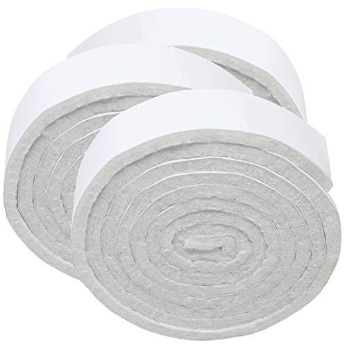 Adsamm® | 3 x selbstklebende Filzbänder zum Zuschneiden | 19x1000 mm | Weiß | Rolle | 3.5 mm starker selbstklebender Filzzuschnitt in Top-Qualität -