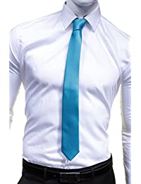 Virtuose - Cravate Uni Satin Slim Turquoise