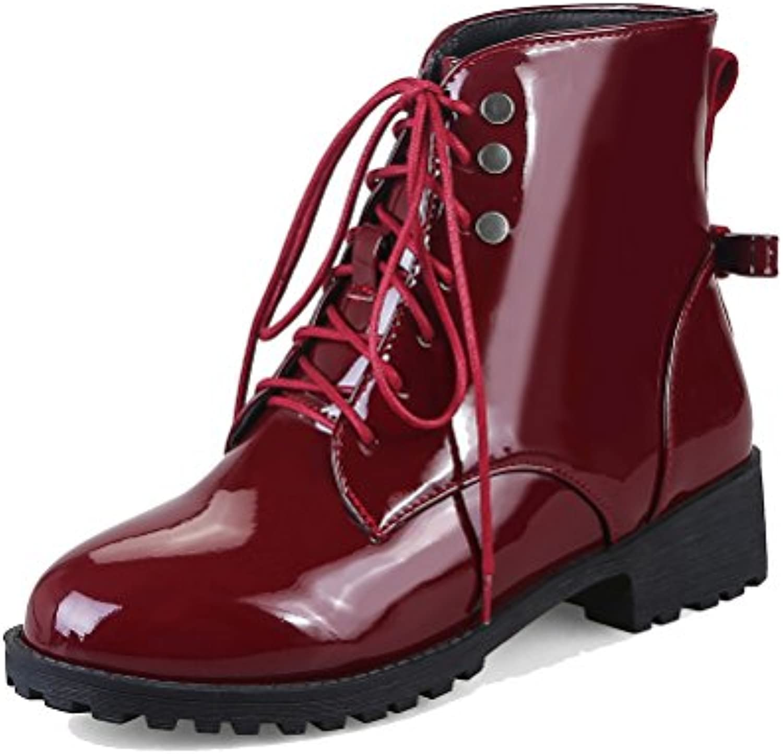 HiTime Botas Militares de Charol Mujer, Color Rojo, Talla 43 EU