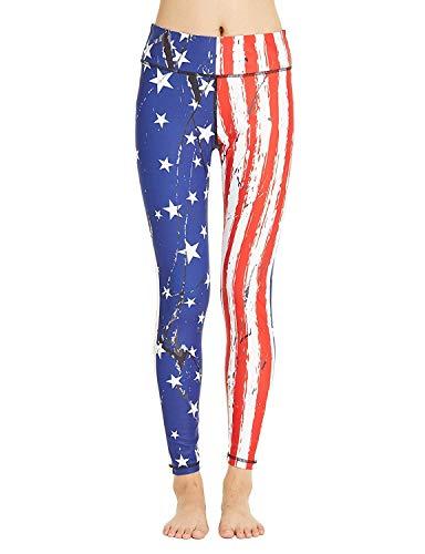 COOLOMG Damen Sport Leggings Yoga Hosen-Fitnesshose, Us-flagge (Lang), Gr.-XL